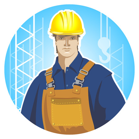 protective wear: Builder construction worker in protective wear and helmet. Builder icon. Flat design vector illustration