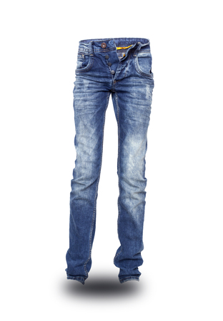 unbuttoned: Blue jeans unbuttoned teenager isolated. With clipping path