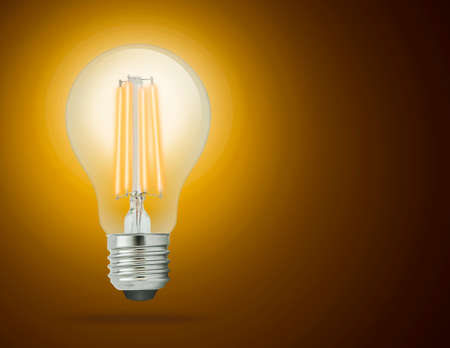 LED filament light bulb, Warm White 2700K (E27). Stock Photo