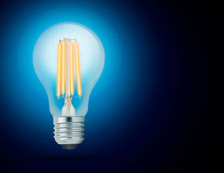 LED filament light bulb, Cool White 6000K (E27). Stock Photo
