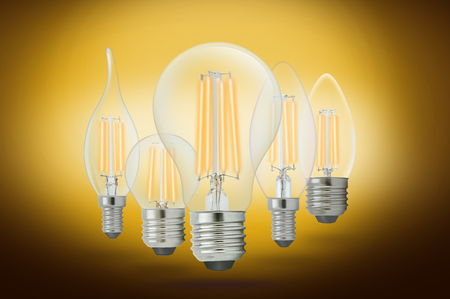 LED filament light bulb, Warm White 2700K(E27). Stock Photo