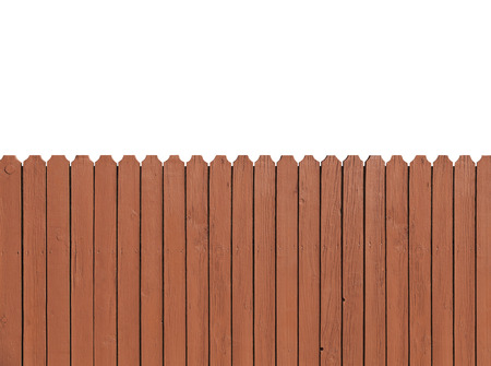 Fence wooden parallel bars, painted brown. Isolated on a white background. With clipping path.