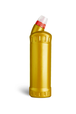 bleach: Yellow plastic bottle for liquid laundry detergent, cleaning agent, bleach or fabric softener. With clipping path