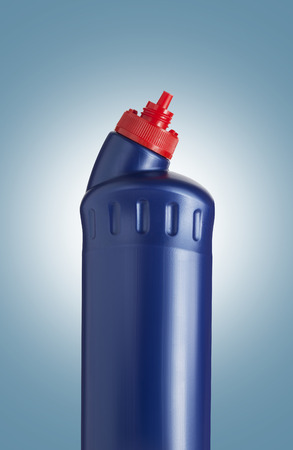 bleach: Blue plastic bottle for liquid laundry detergent, cleaning agent, bleach or fabric softener. With clipping path Stock Photo
