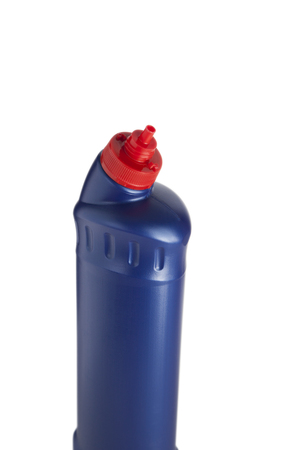 bleach: Blue plastic bottle for liquid laundry detergent, cleaning agent, bleach or fabric softener.