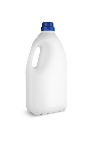 White plastic bottle for liquid laundry detergent or cleaning agent or bleach or fabric softener. Banque d'images