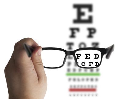 시력 검사 차트 배경의 안경