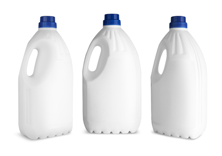 bleach: Set White plastic bottle for liquid laundry detergent or cleaning agent or bleach or fabric softener. Stock Photo