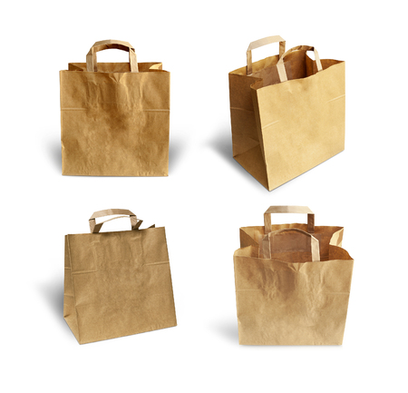 pochette: Set Recycled paper shopping bags on white background.