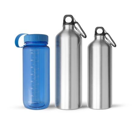 Sport water bottles set with a carabiner attached to the top isolated on white background. Stock Photo
