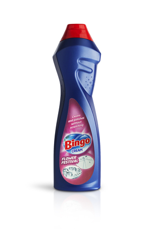 CHISINAU, MOLDOVA - July 25, 2016: Bottle of Bingo cream. Cleans and polishes without scratching, produced brands of Hayat Kimya and sold in most parts of Europe. Editöryel
