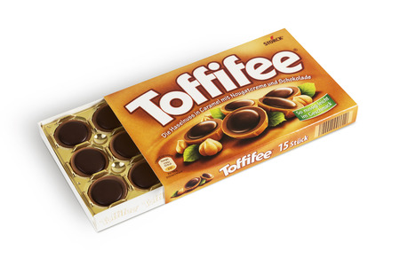 moldova: Chisinau, Moldova - June 14, 2016: Box of Toffifee candies made by Storck.Toffifee was launched in 1973 by Storck. With clipping path. Editorial