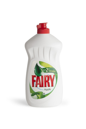 moldova: CHISINAU, MOLDOVA - July 25, 2016: Bottle of Fairy Apple Washing up Liquid, produced by Procter & Gamble and sold in most parts of Europe.