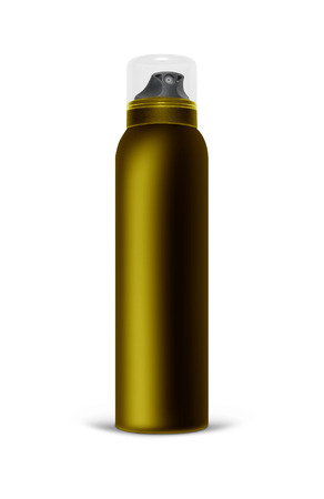 Brown blank aluminum spray can isolated on white background. The black template bottle spray for design.