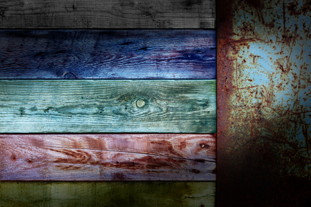 adboard: Wooden colors board with end old metal rusty placard Stock Photo
