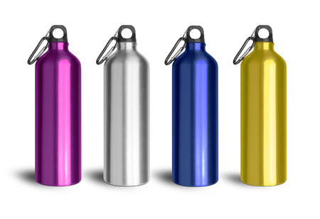 Metallic water bottle with a carabiner attached to the top isolated on white background.