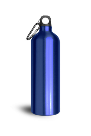 Metallic blue water bottle with a carabiner attached to the top isolated on white background. Stock Photo