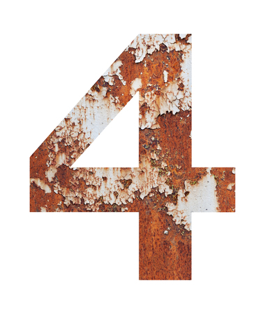 Old rusty metal alphabet, text 4, isolated over the white background. Stock Photo