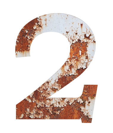 Old rusty metal alphabet, text 2, isolated over the white background.