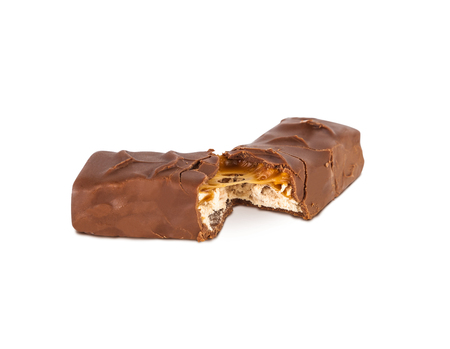 Closeup of chocolate bar isolated on white background.