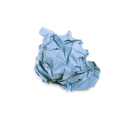 Crumpled blue paper ball isolated over white background. Bluren concept Stock Photo