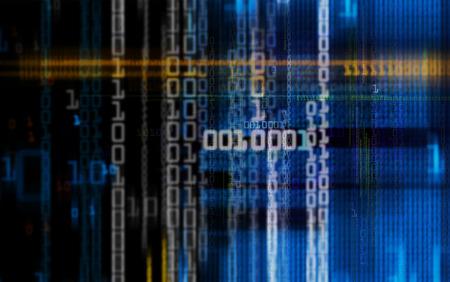 Digital binary data and electronic circuit board.