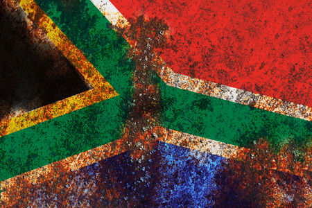 Grunge South Africa Flag on rusty metal background