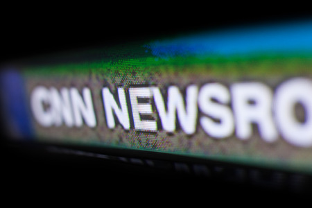 Chisinau, Moldova - June 17, 2017. Photo of CNN logo on a tv monitor screen. Cable News Network (CNN) is an American basic cable and satellite television news channel