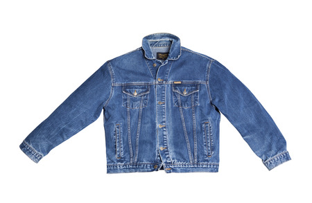 CHISINAU, MOLDOVA - December 25, 2017: Jeans jacket Wrangler blue color, isolated on white background. The Wrangler brand is owned by VF Corporation of Greensboro, North Carolina USA. Top view Editorial