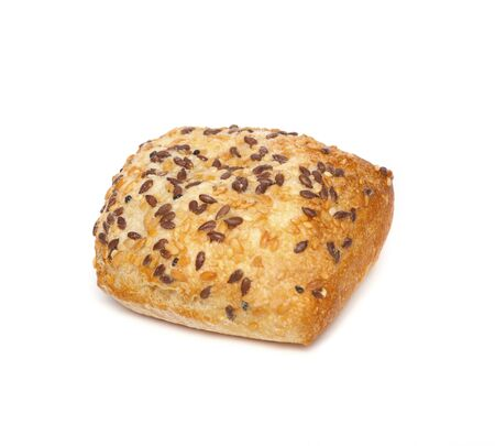 Ciabatta, Italian bread is studded with seeds, isolated on a white background