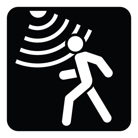 Motion detector solid icon, security and guard, vector graphics, a glyph pattern on a black background