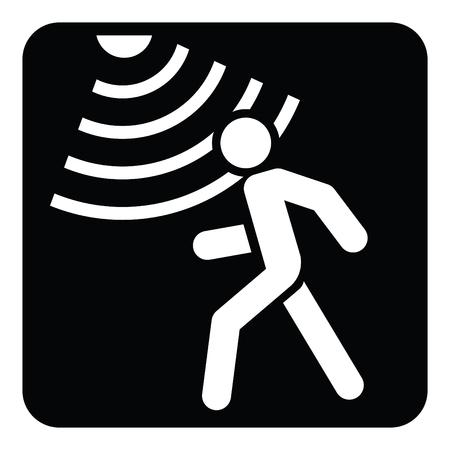 Icône solide détecteur de mouvement, sécurité et garde, graphiques vectoriels, un motif de glyphe sur fond noir