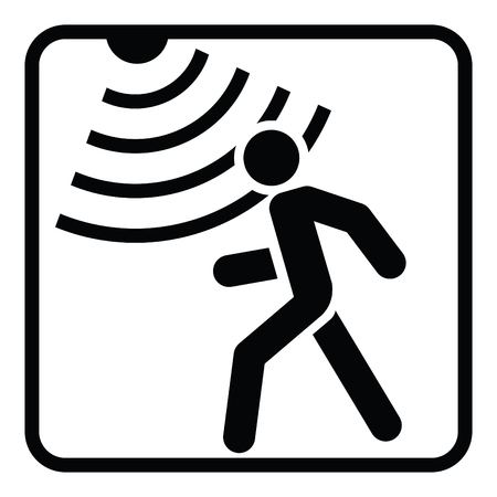 Motion detector solid icon, security and guard, vector graphics, a glyph pattern on a white background  イラスト・ベクター素材