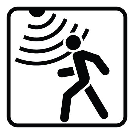 Feste Ikone des Bewegungsdetektors, Sicherheit und Schutz, Vektorgrafik, ein Glyphmuster auf einem weißen Hintergrund Vektorgrafik