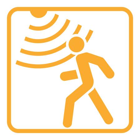 Ícone sólido detector de movimento, segurança e guarda, gráficos vetoriais, um padrão de glifo. Ilustración de vector