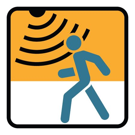 Motion detector solid icon, security and guard, vector graphics, a glyph pattern. Vectores
