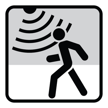Motion detector solid icon, security and guard, vector graphics, a glyph pattern. Stock Illustratie