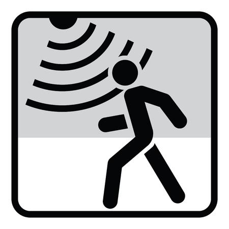 Bewegingsmelder solide pictogram, beveiliging en bewaker, vectorafbeeldingen, een glyph-patroon.