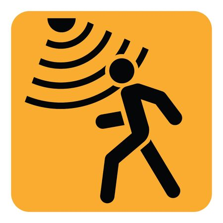 Motion detector solid icon, security and guard, vector graphics, a glyph pattern. Çizim