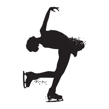 Silhouette skating woman athlete isolated on white background. Vector illustrations.