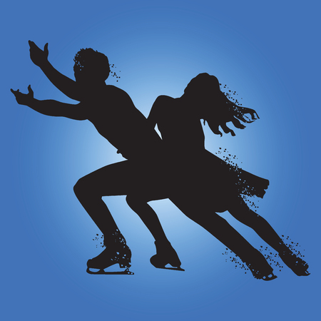 Silhouette of Figure skating isolated on blue background. Vector illustrations. Illustration