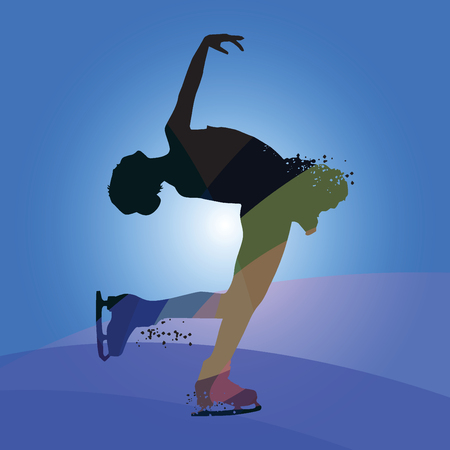 Silhouette skating woman athlete isolated on blue background. Vector illustrations.