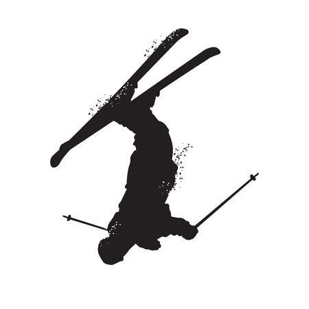 Silhouet van freestyle skiën. Geïsoleerd op witte achtergrond Vector illustraties