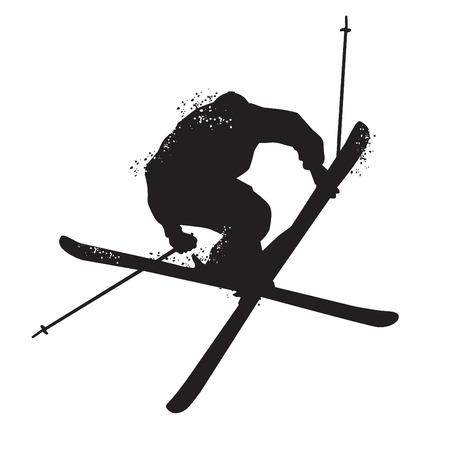 Silhouet van freestyle skiën. Geïsoleerd op witte achtergrond Vector illustraties Vector Illustratie