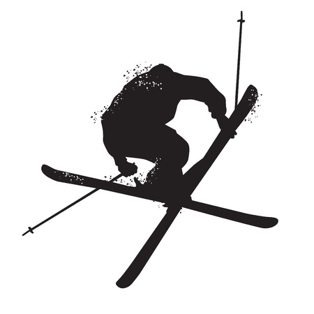 Silhouette of Freestyle skiing. Isolated on white background. Vector illustrations