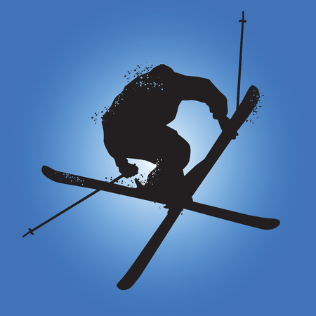 Silhouette of Freestyle skiing. Isolated on blue background. Vector illustrations