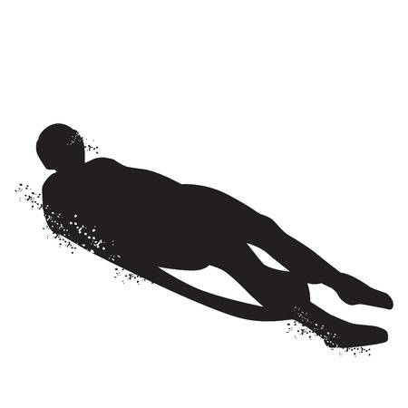 Silhouette of Figure skating Luge isolated on white background. Vector illustrations