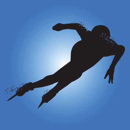 Silhouette athlete speed skater isolated on blue background. Vector illustrations