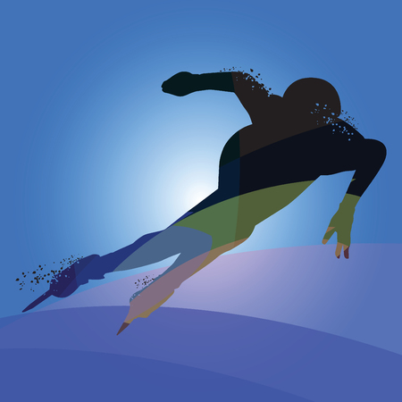 Silhouette athlete speed skater isolated on white background. Vector illustrations