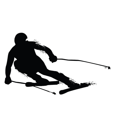 Alpine Skiing Silhouette isolated on white background. Vector illustrations
